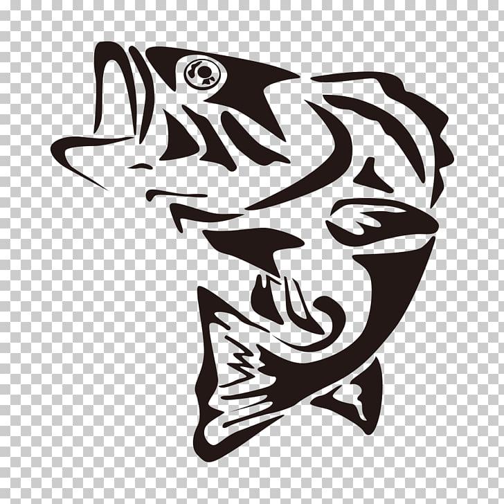 Largemouth bass Fishing , Line drawing fish, black koi.