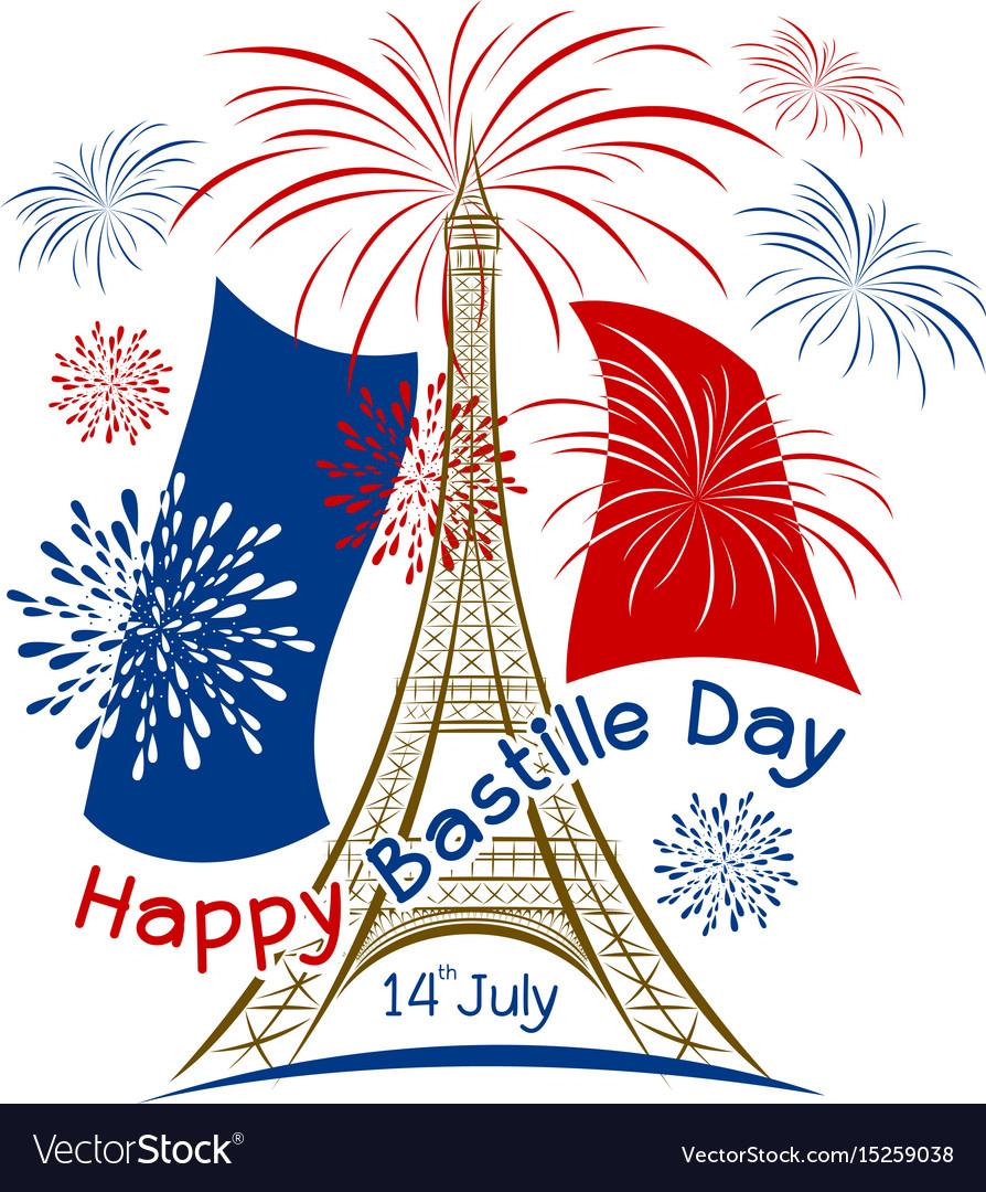 14 july bastille day paris design with firework.