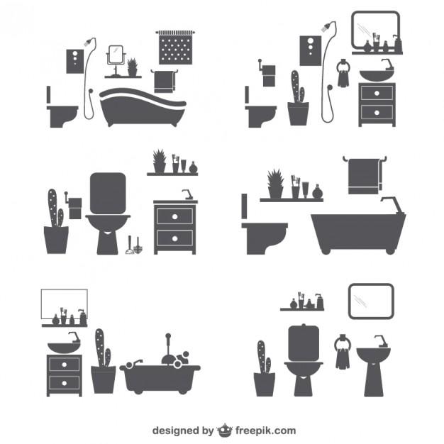 Bathroom silhouette icons Vector.