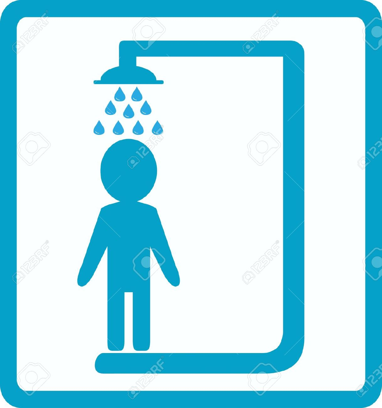 Symbol Of Shower Room With Man Silhouette Royalty Free Cliparts.
