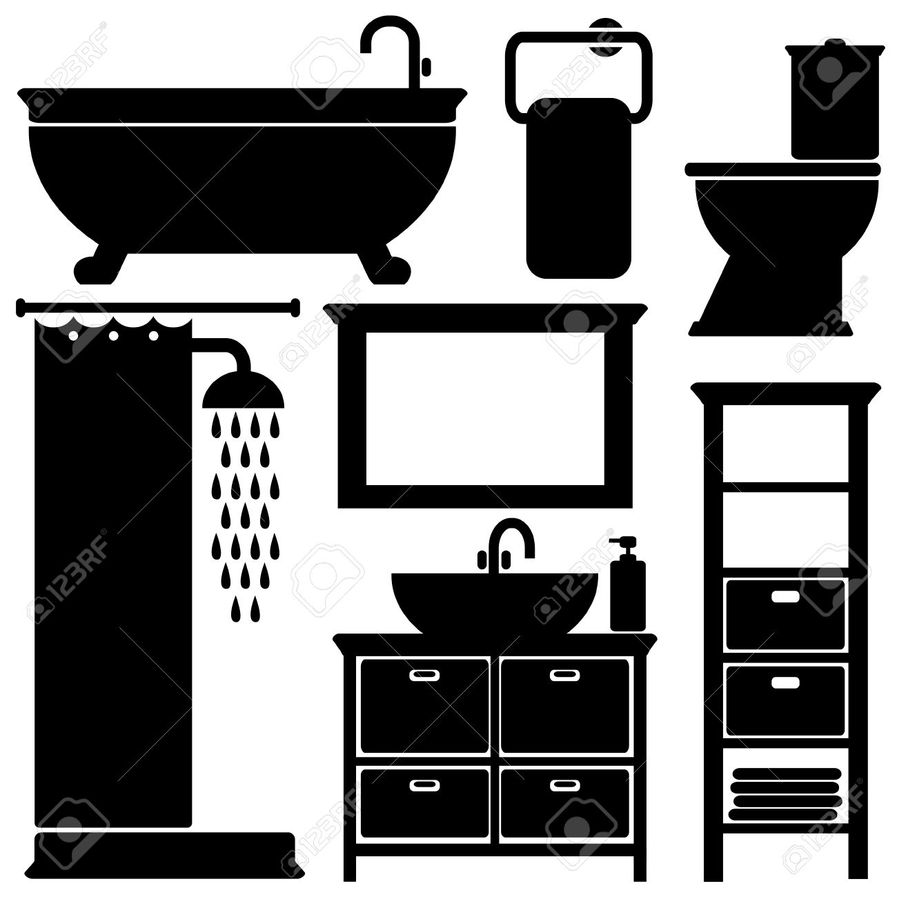 Bathroom Clip Art Black And White: Free Bathroom Silhouette Clipart