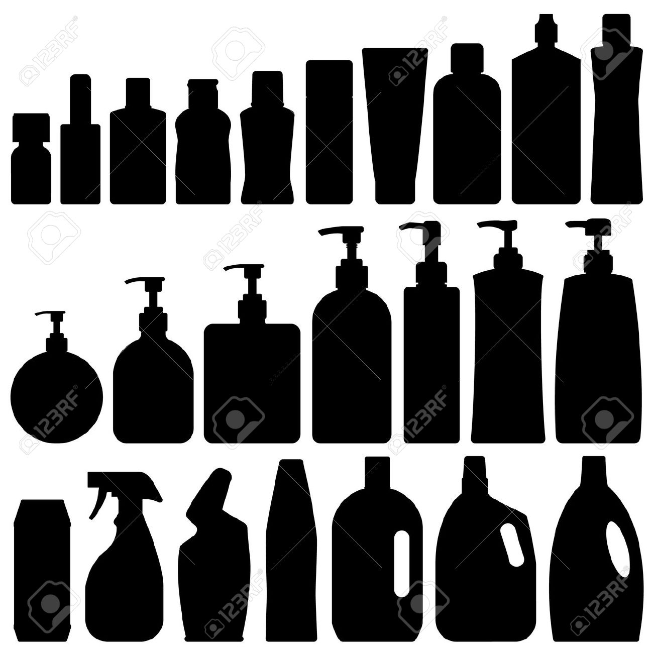Bathroom Silhouette Set Vector Royalty Free Cliparts, Vectors, And.