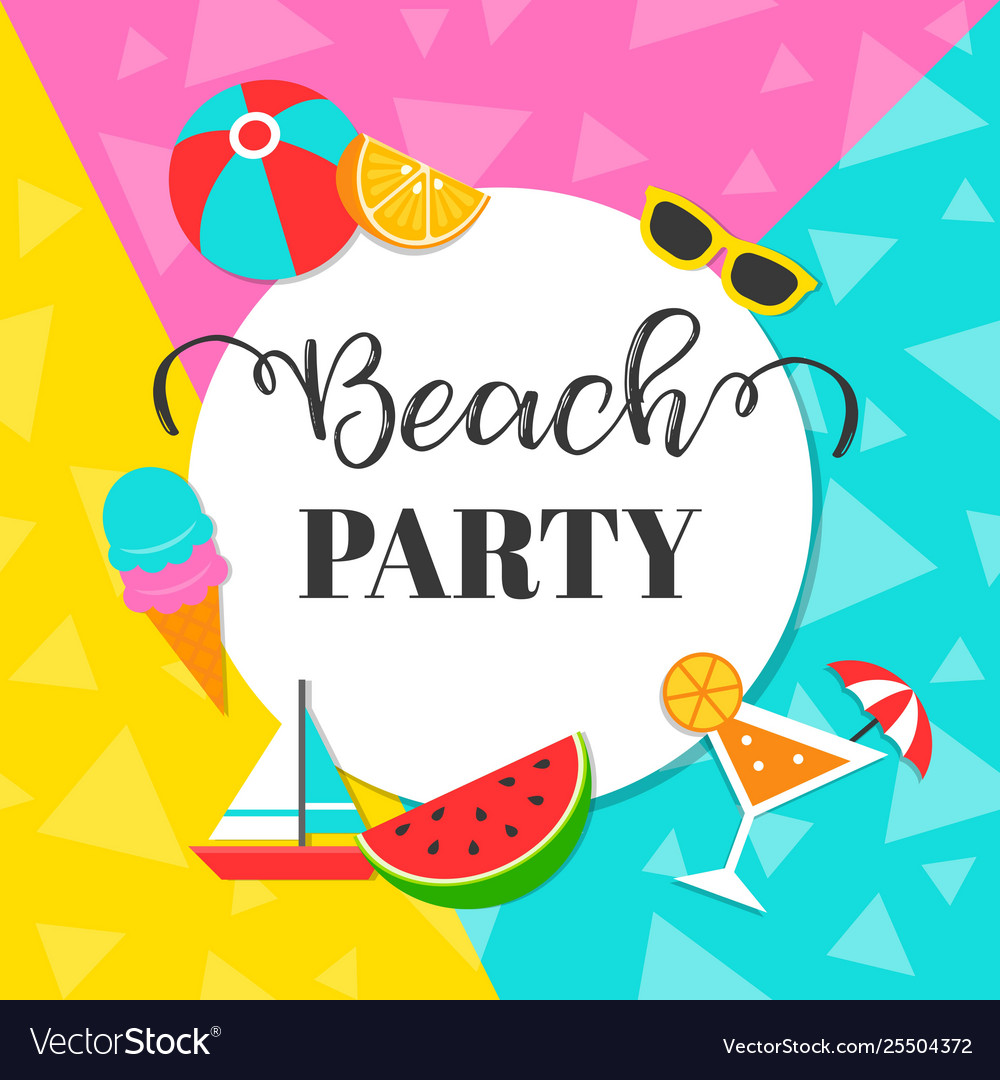 Colorful summer beach party background.
