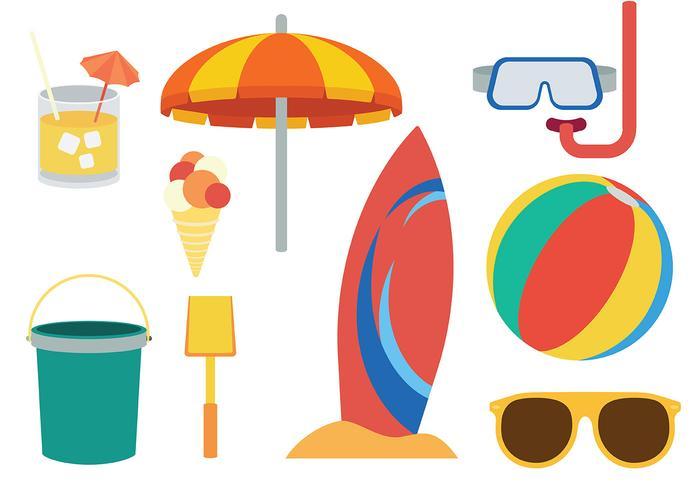 Beach Theme icons Vector.