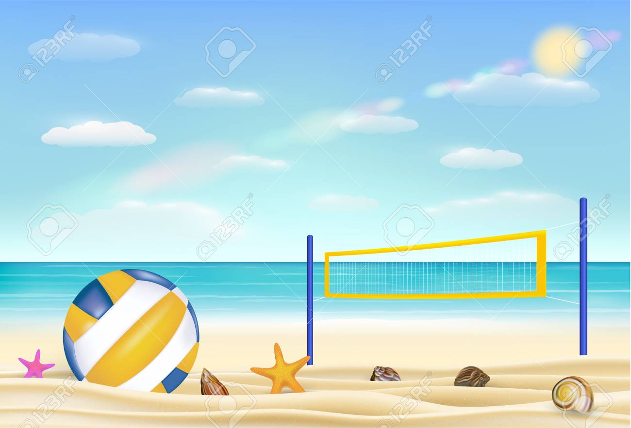 Beach volleyball and net on a sand beach with bring sea sky background..