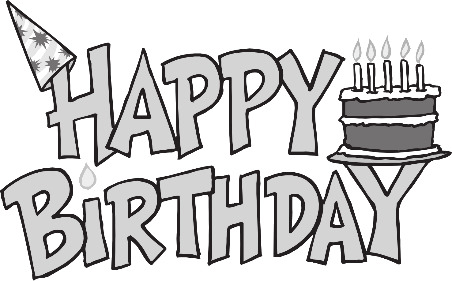 Black And White Happy Birthday Clip Art Free.