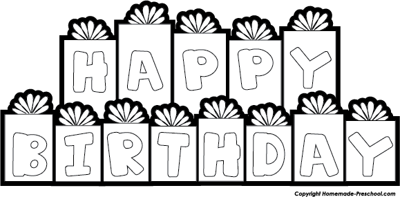 Black And White Happy Birthday Clip Art Free.