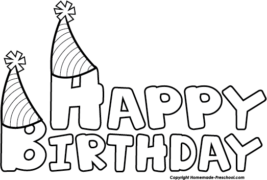 Happy Birthday Clip Art Black And White.