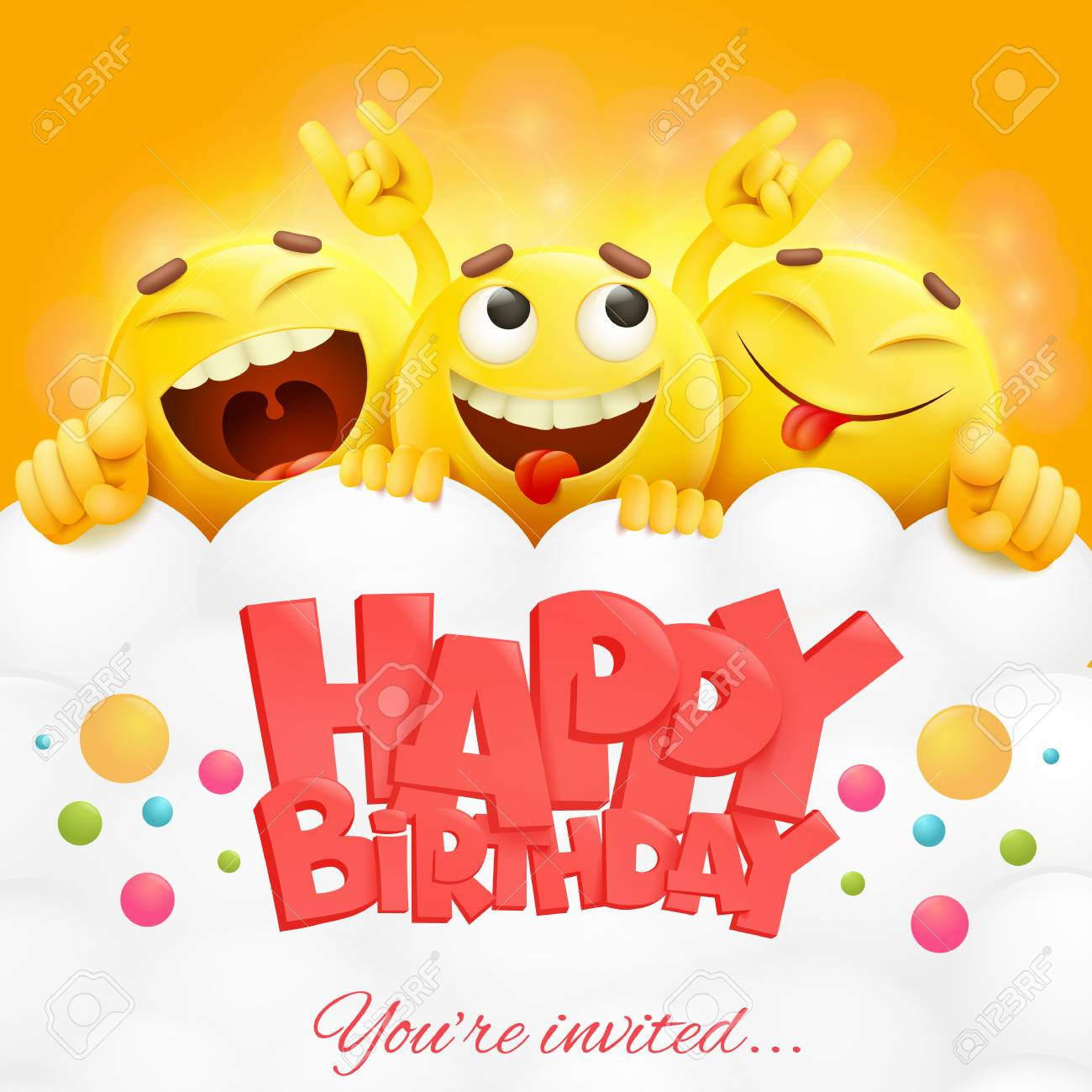 Smiley yellow faces emoji characters. Happy birthday card. realistic...