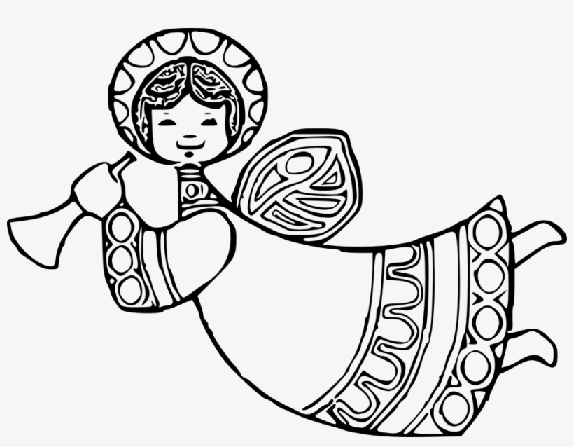 Svg Transparent Stock Archangel Drawing Black And White.