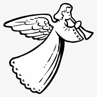 Free Angel Black And White Clip Art with No Background.