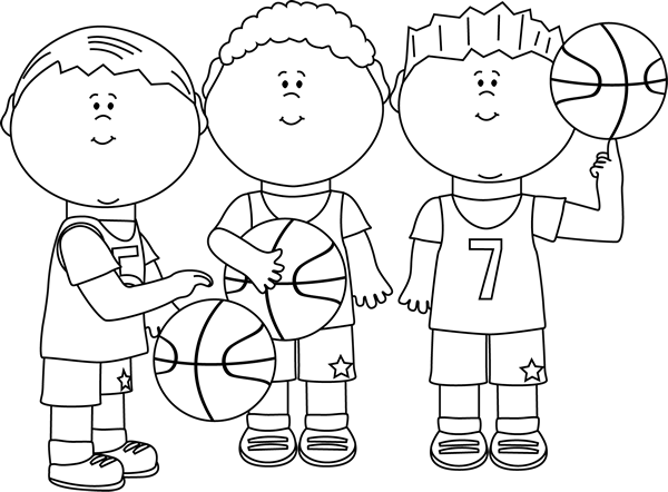Free Boy Basketball Clipart Black And White.