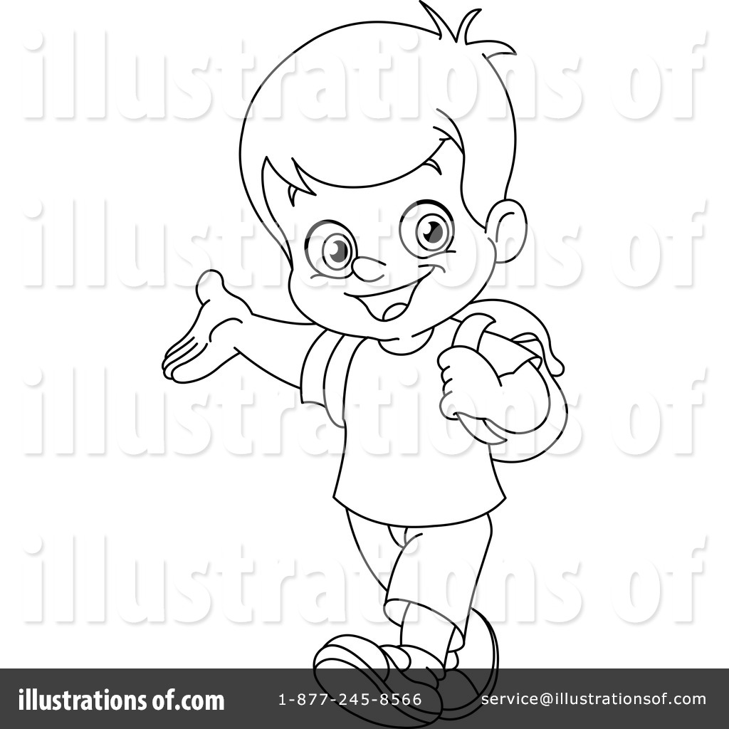 School Boy Clipart Black And White.