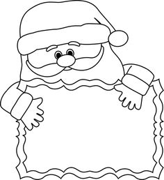 santa claus frame clipart black and white