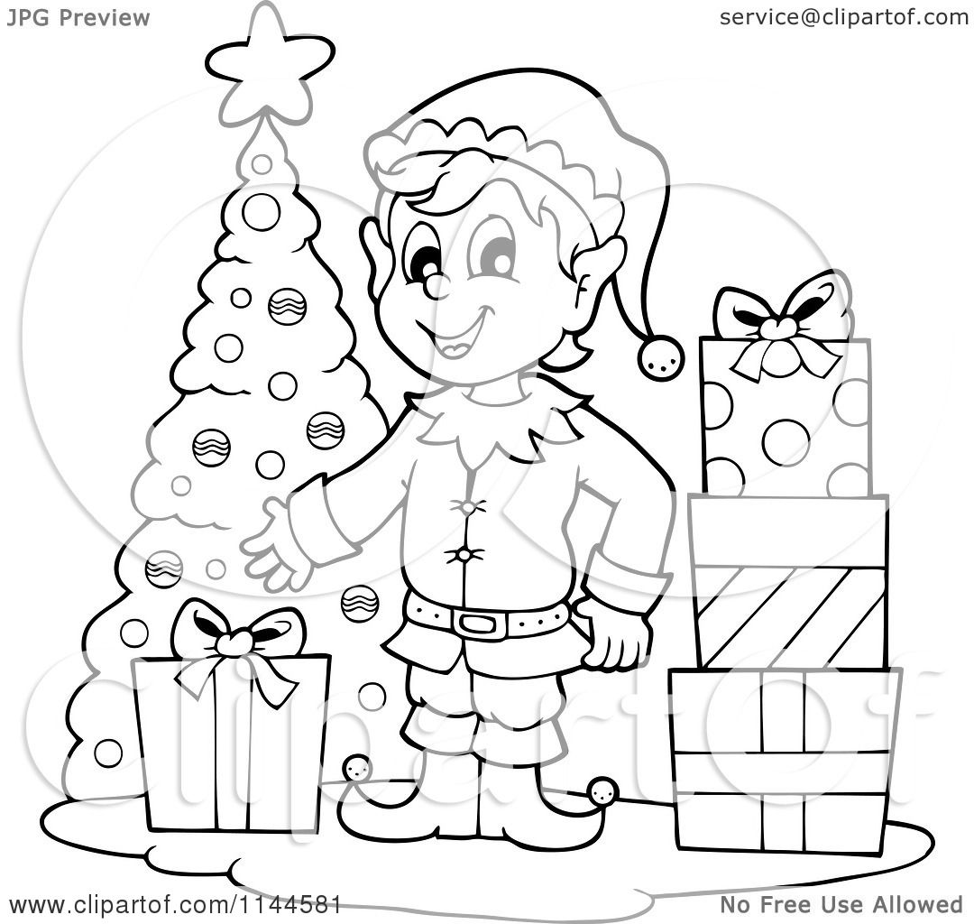 free black and white christmas elf clipart 20 free ...