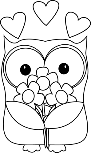 Black and White Valentine\'s Day Owl.