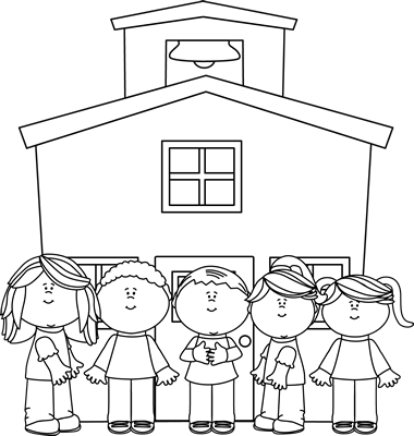 Clipart School House Black And White.