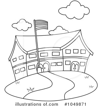 Clipart School Building Black And White.