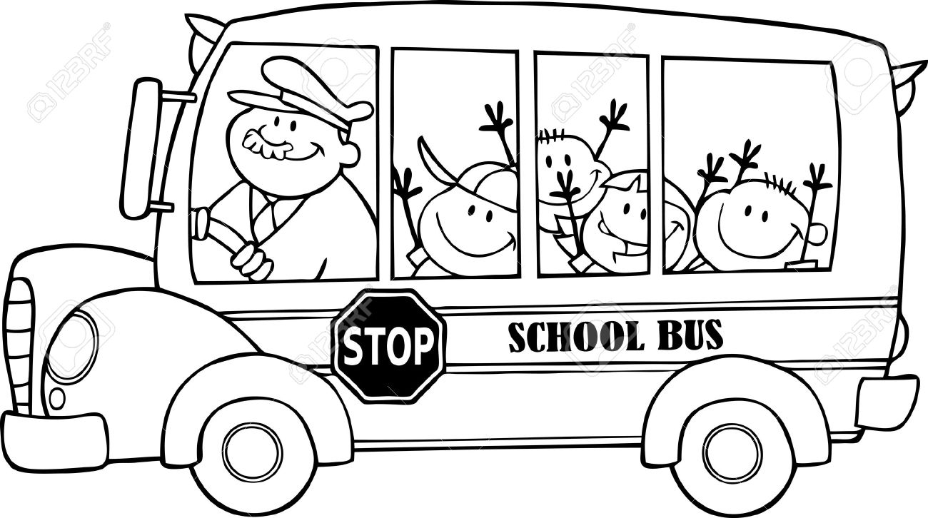 Drawn School Bus Black And White Clipart.