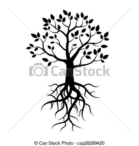 Vector Illustration of Black vector tree, leafs and roots.
