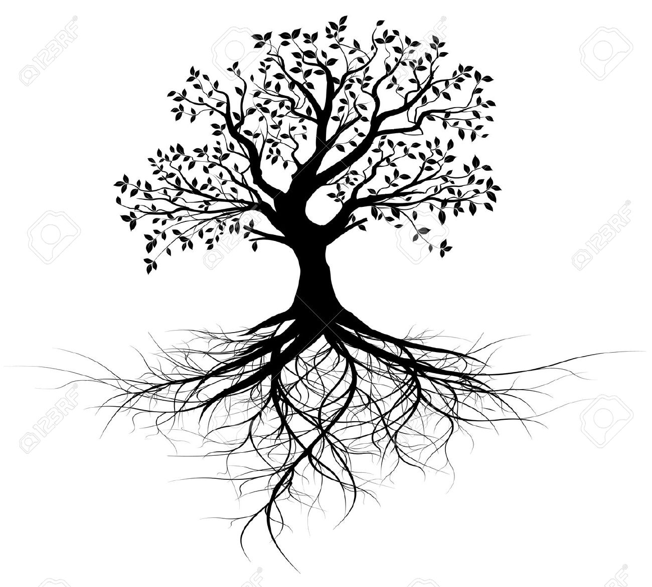 Free Clipart Tree With Roots Black And White.