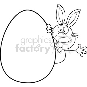 Royalty Free RF Clipart Illustration Black And White Cute Rabbit Cartoon  Character Waving Behinde Easter Egg clipart. Royalty.