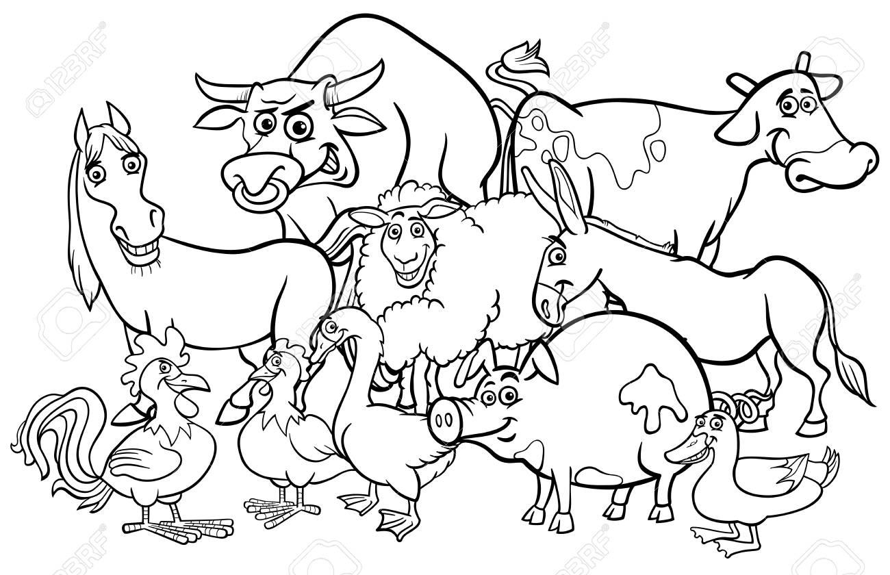 Black and White Cartoon Illustration of Comic Farm Animal Characters...
