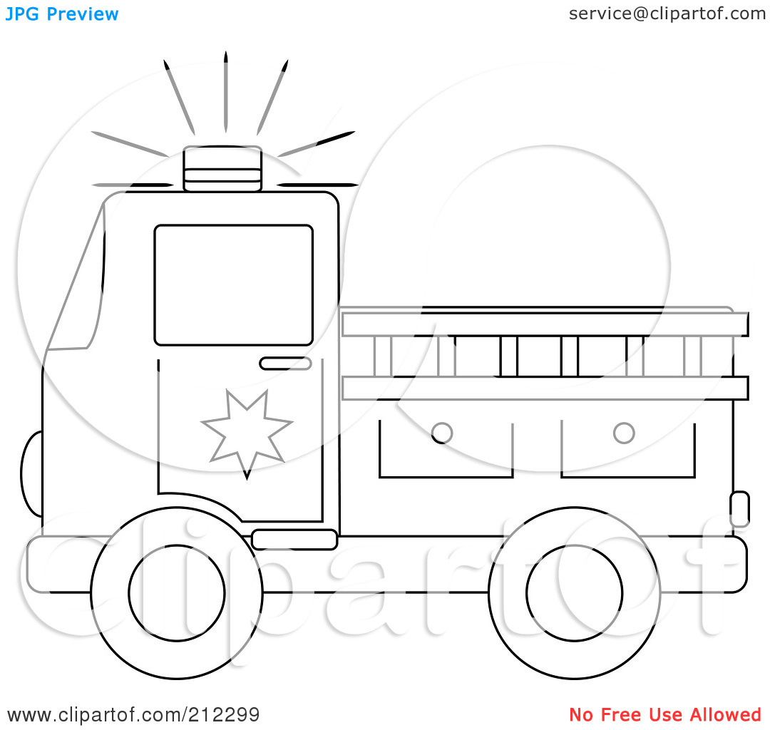 Free Black And White Fire Truck Clip Art.