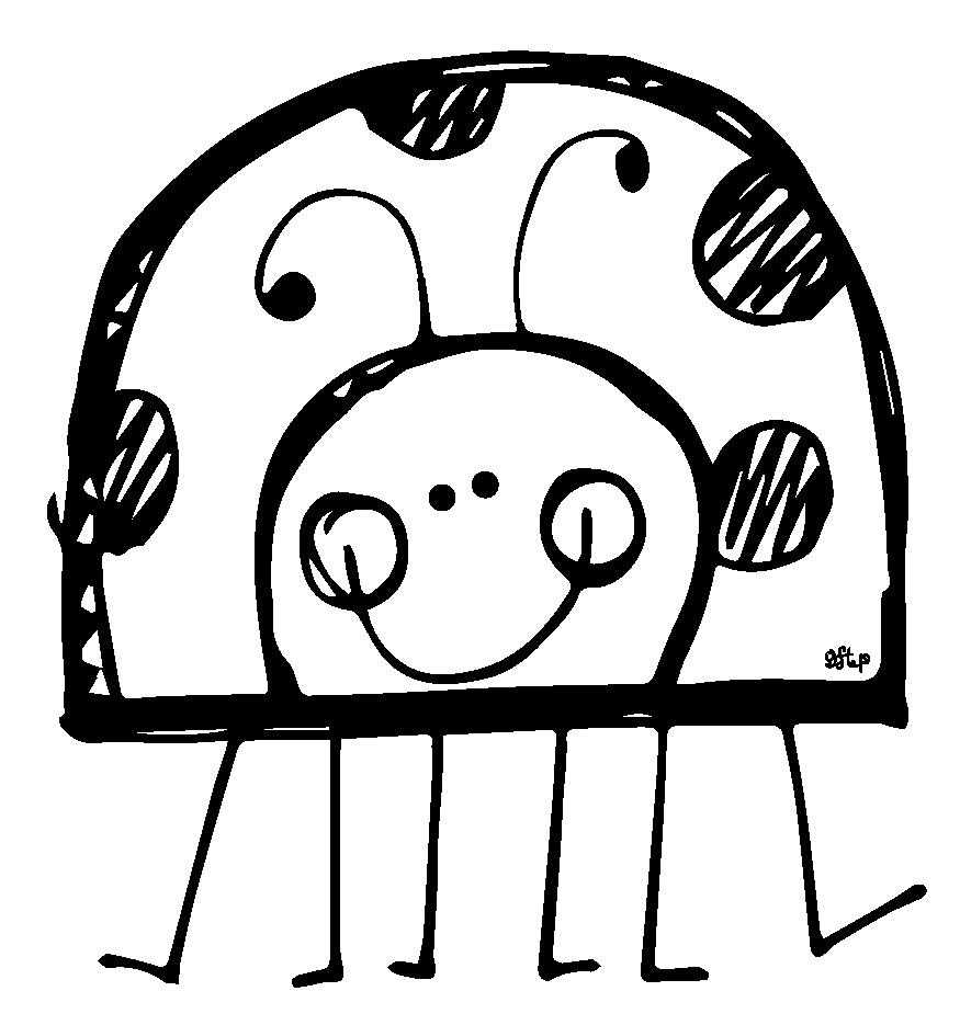 Ladybug outline cute ladybug black and white clipart.