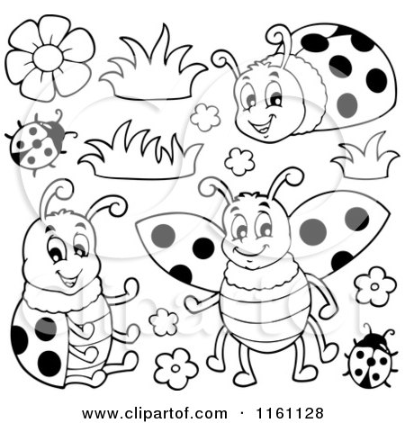 Cartoon of Black and White Ladybugs and Flowers.