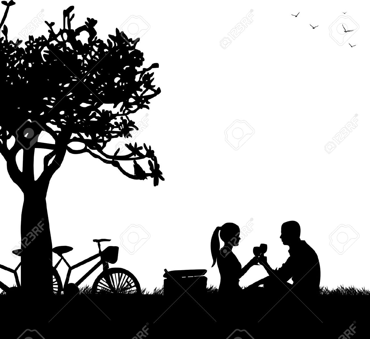 free black and white of couples under a tree clipart