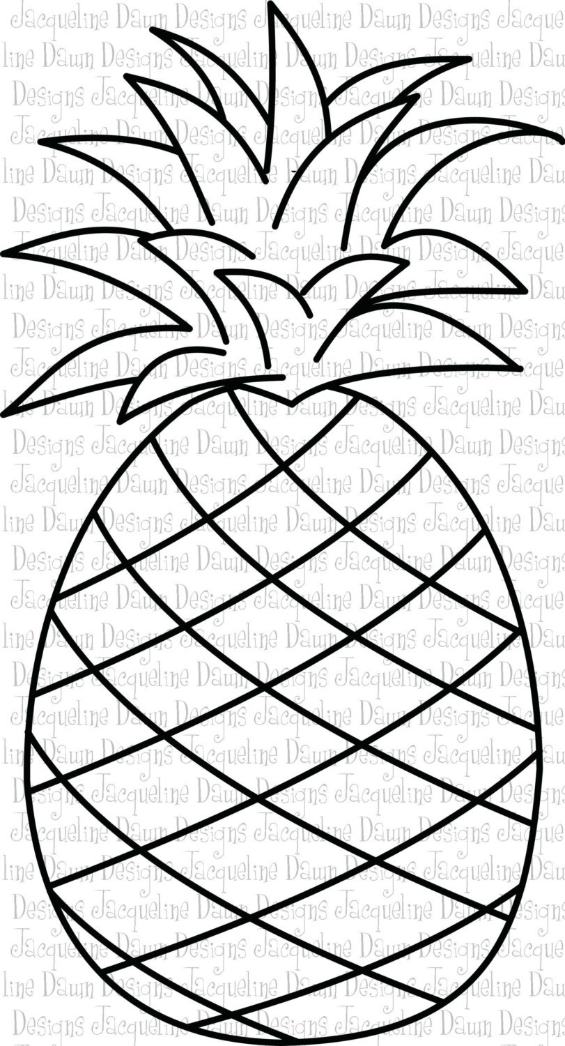 Outline black and white image of a pineapple free cliparts.