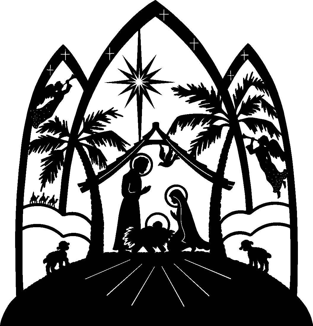 Large Print Black And White Religious Christmas Clipart.