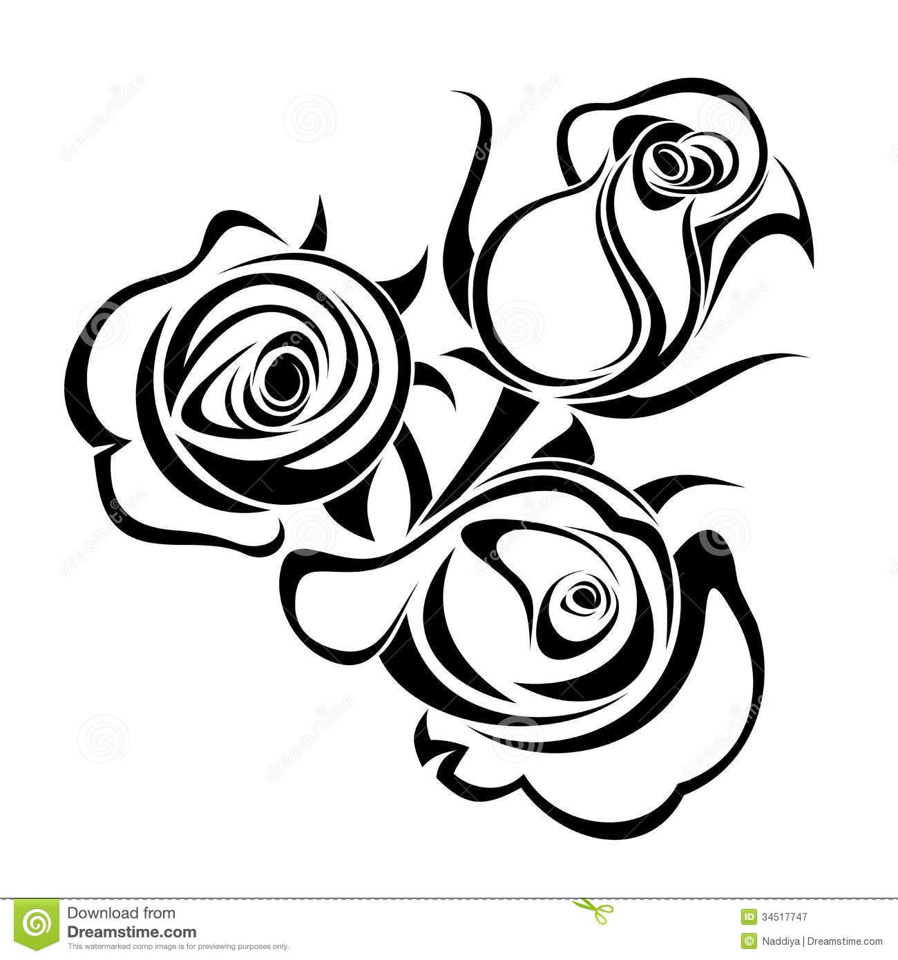 Rose Bouquet Clip Art Black And White Rose Buds Black.