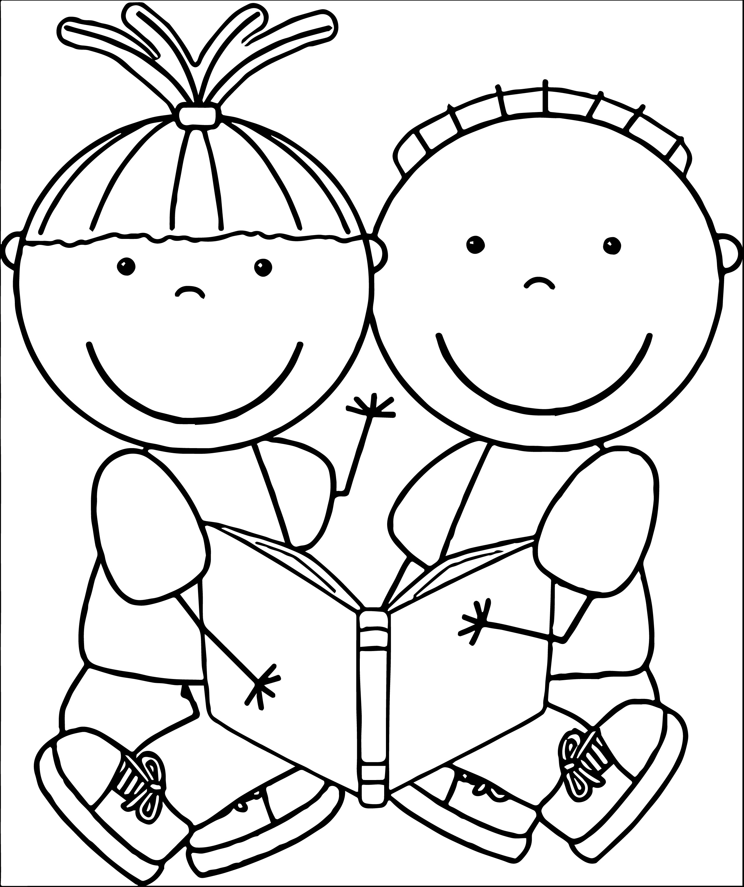 Free Black And White School Clipart College Reading.