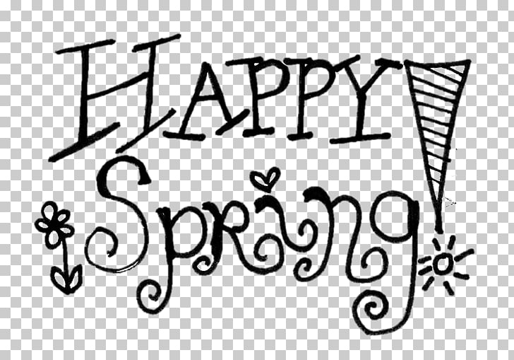 Black and white Spring , Happy Spring s PNG clipart.