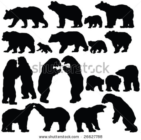 sillouette of bears.