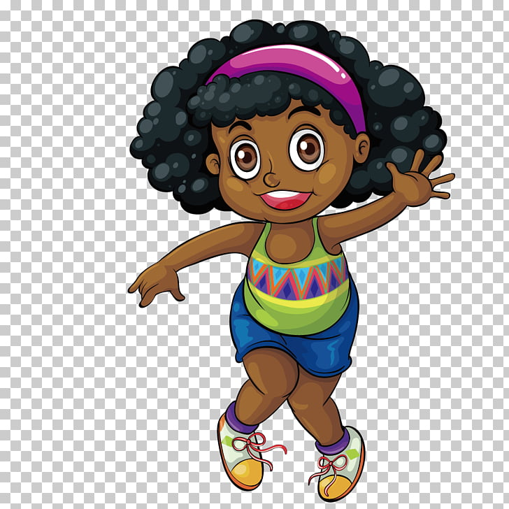 Black Drawing Girl , Cute black girl PNG clipart.