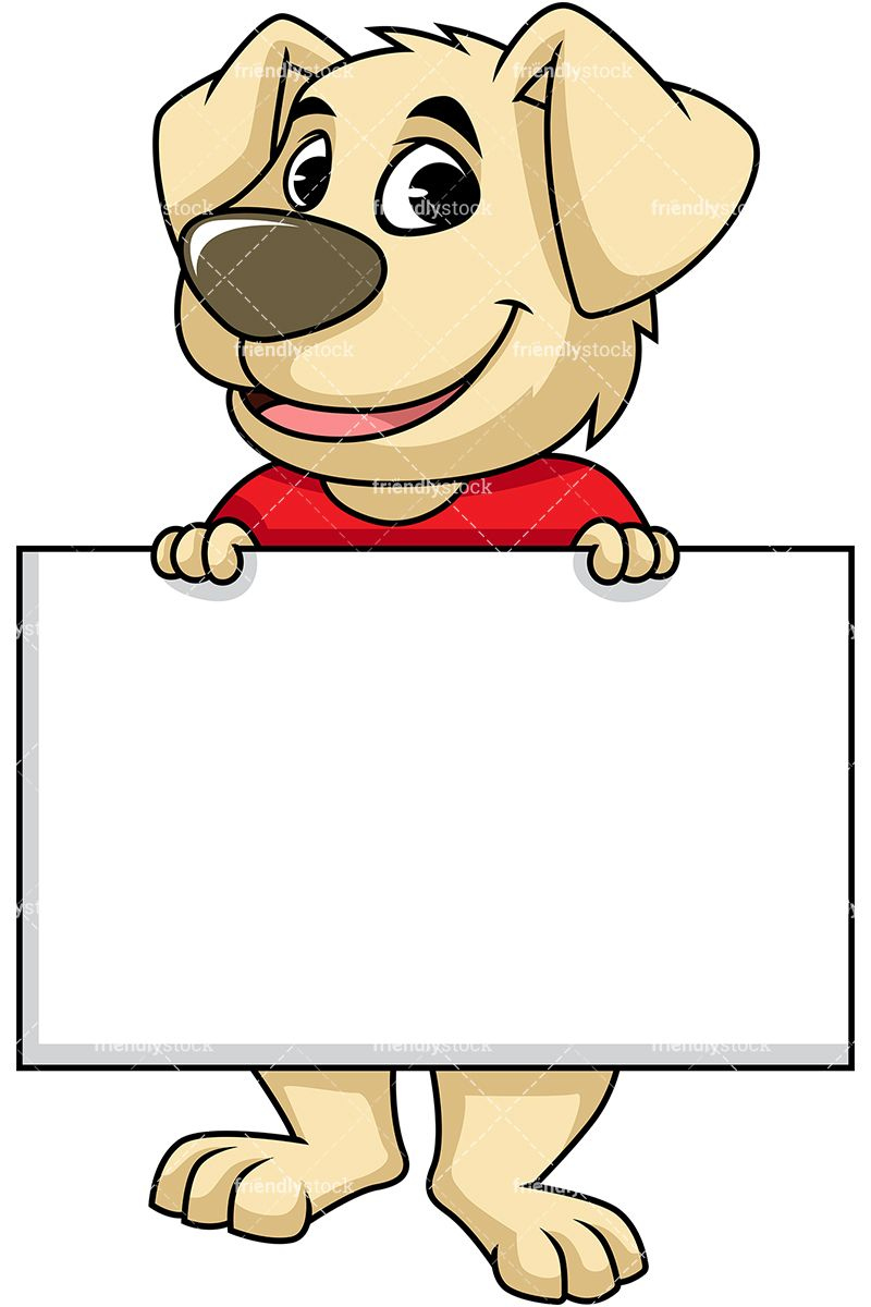 Dog Mascot Character Holding Empty Sign.