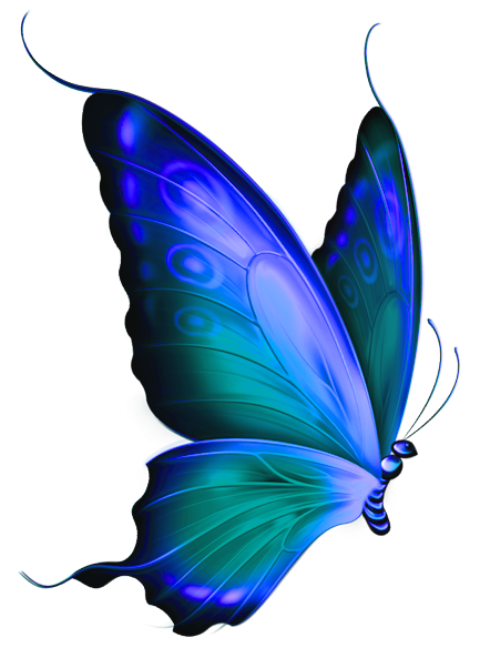 Transparent Blue and Green Deco Butterfly Clipart.