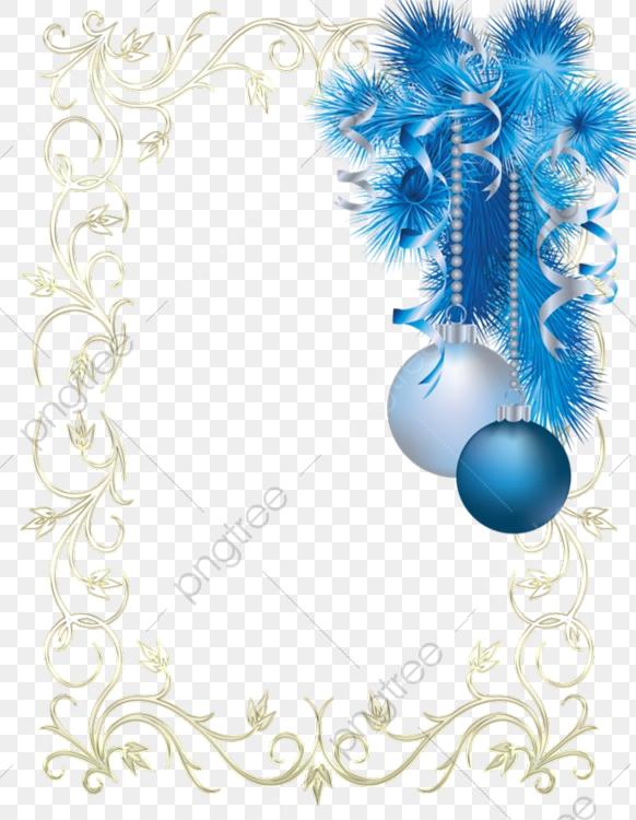 Christmas Blue Decorative Borders, Dream, Blue, Christmas PNG.