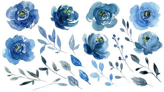 Watercolor Blue Flowers Clipart Indigo Navy Sapphire Roses Peonies.