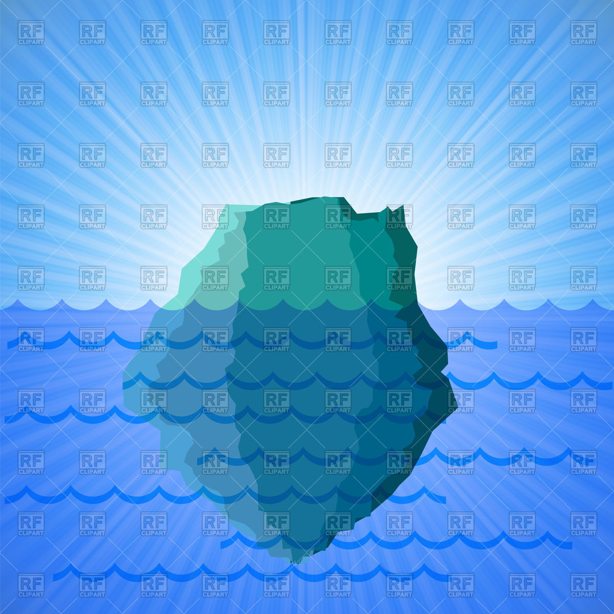 Big iceberg on blue water background Vector Image #84748.