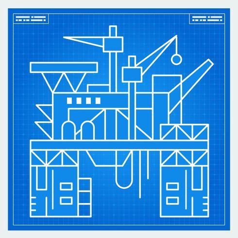 Oil platform rig blueprint scheme.