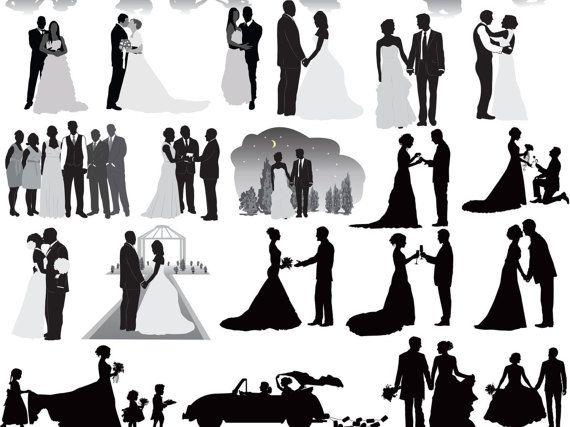Wedding Party, Wedding Silhouettes, Wedding clipart, Bride.