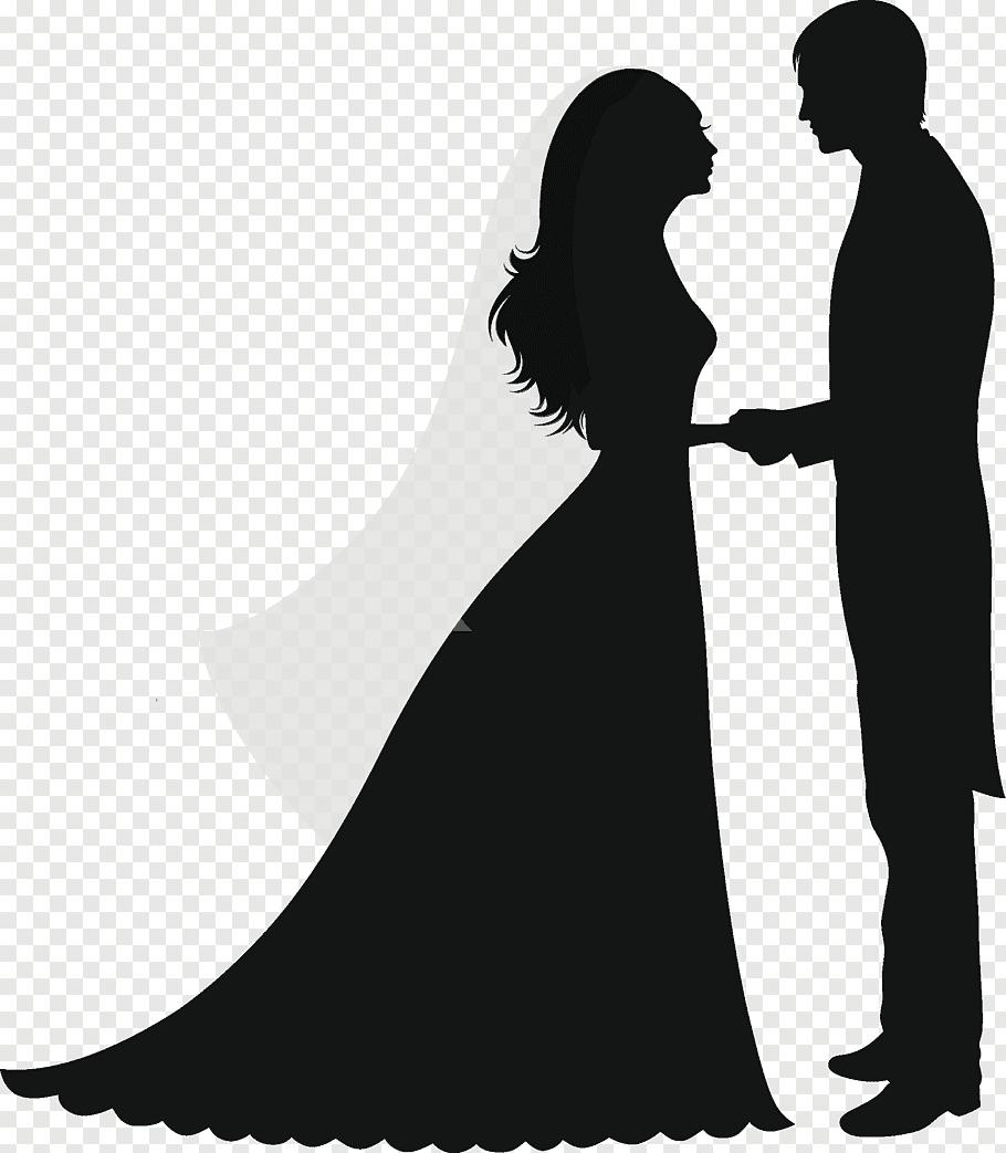 Groom and bride illustration, Wedding invitation Silhouette.
