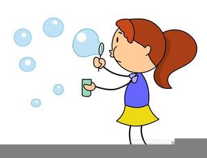 Kids Blowing Bubbles Clipart.