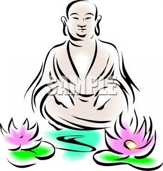 Royalty Free Clipart Image: Buddha Design with Lotus Flowers.