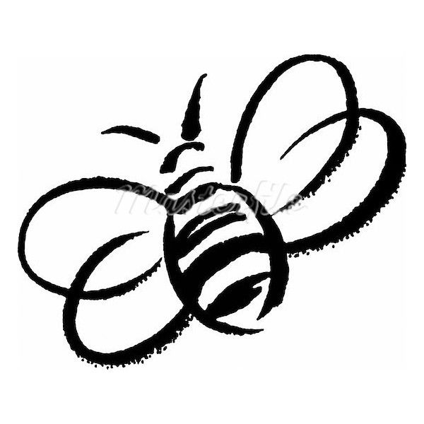 A black and white drawing of a bumblebee Stock Photo.