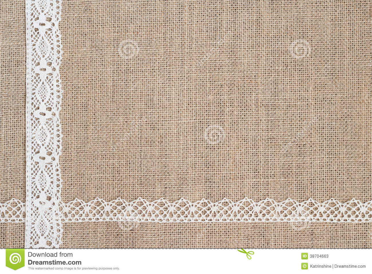 Burlap Background With Lace Stock Image.